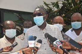 National Assembly's Agriculture Committee chairman Silas Tiren, flanked by other committee members address journalists at English Point Marina in Mombasa